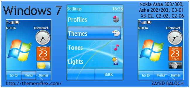 Windows 7 Theme For Nokia Asha 303300 X3 02 C2 02 And
