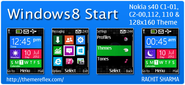 Windows 8 Start Live Theme for Nokia C1-01, C2-00, 110, 112