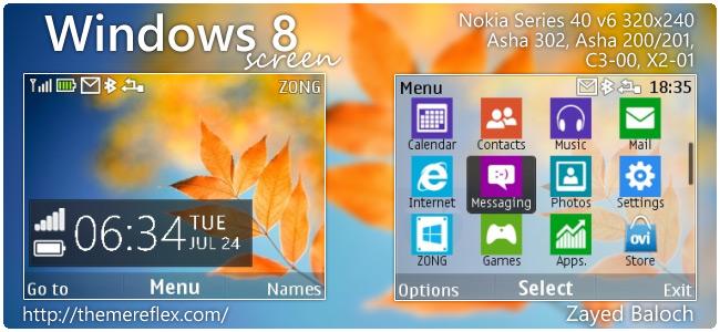 Windows 8 Screen theme for Nokia Asha 302, C3-00, X2-01