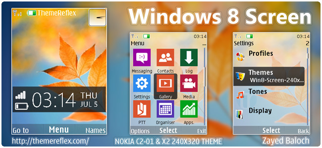 Windows 8 Screen theme for Nokia X2-00, C2-01, X3 & 240×320