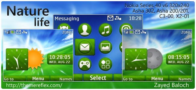 Nature Life theme for Nokia Asha 302, C3-00, X2-01 & 320×240