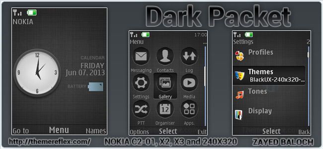 Dark Pocket theme for Nokia X2-00, X3, C2-01 and 240×320