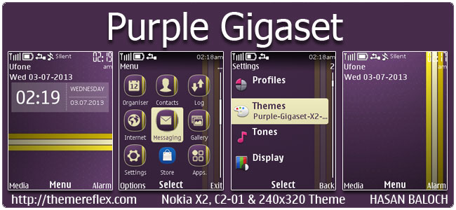 Purple Gigaset Theme for Nokia X2-00, C2-01, 206, X3-00, X2-05, 2700