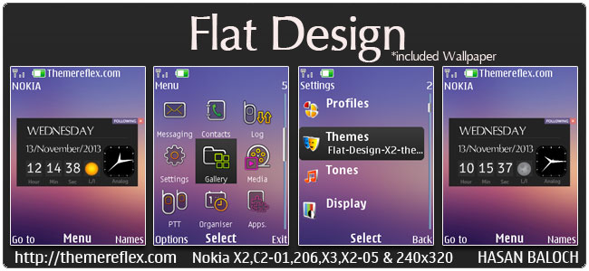 Flat Design Live theme for Nokia X2-00, X2-02, X2-05, X3-00, C2-01