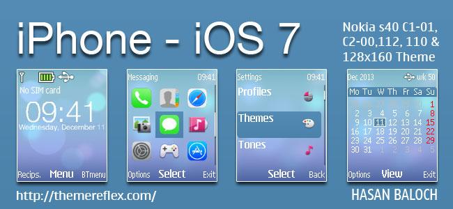 iPhone – iOS 7 Theme for Nokia C1-01, C1-02, C2-00, 107, 108