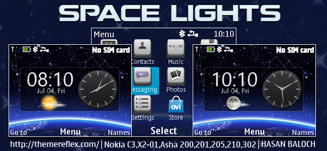 Space Lights Live Theme for Nokia C3-00, X2-01, Asha 200, 201, 205