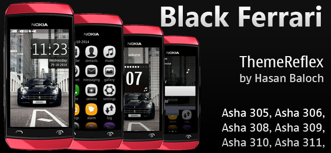 Black Ferrari Theme for Nokia Asha 305, Asha 306, Asha 308