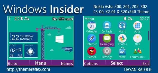 Windows Insider Live Theme for Nokia C3-00, X2-01, Asha 200, 201