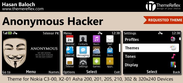 Anonymous Hacker Theme for Nokia C3-00, X2-01, Asha 200, 201, 205