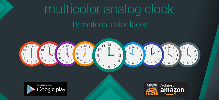 Multicolor Analog Clock Widget for Android and Amazon Fire