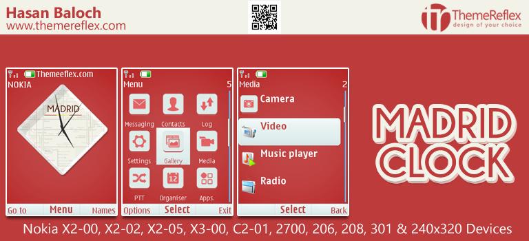 Madrid Clock Theme for Nokia X2-00, X2-02, X2-05, X3-00, C2